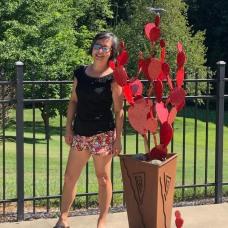 Red Cactus Sculpture